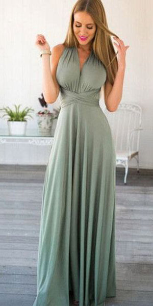 Simple Sexy Long Bridesmaid Dress with Straps Custom Made Fahion Long Wedding Party Dresses BD083