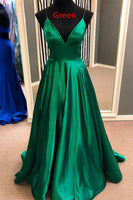 Simple Sexy V-Neck Long Plus Size Prom Dress with Spaghetti Straps Custom Made Long Satin Evening Party Dress Fashion Long Green School Dance Dresses PD691