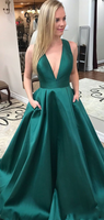 Deep V-Neck Hunter A-Line Prom Dress with Cross Back Custom Made Long Satin Evening Party Gowns PD326