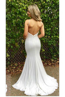 Simple Sexy Mermaid White Prom Dress Custom Made Fashion Long Evening Gowns PD225