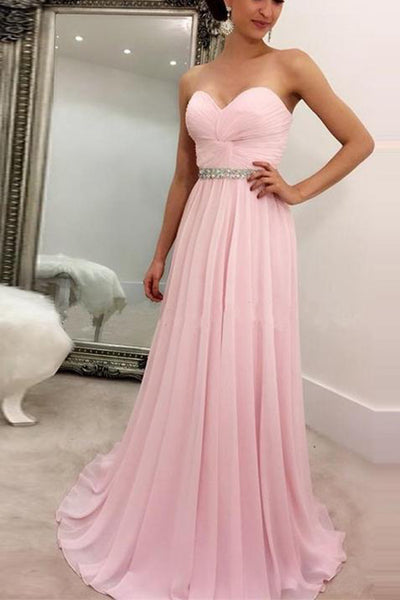 Custom Made Simple Pink Chiffon Prom Dress 2019 Fashion Long Evening Dress with beaded Waist PD184