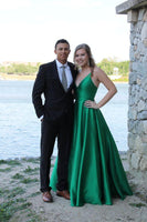 Simple Long Hunter V-Neck Prom Dress 2019 Custom Made Satin A-Line Evening Party Dress Fashion Long School Dance Dress PD505