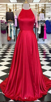 Simple Red Long Side Slit Prom Dress Custom Made Long Evening Party Dresses Fashion Long School Dance Dresses PD720
