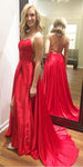 Simple Long Red Spaghetti Straps Prom Dress Custom Made Long Side Slit Evening Gowns Fashion Long Backless School Dance Dress Discount Fashion Formal Dresses PD849