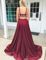 Simple Burgundy Prom Dress with Straps Custom Made Satin Evening Party Dress Fashion Long School Dance Dress Women's Formal Dress PD591