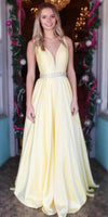 Simple Long V-Neck Prom Dress with Beaded Waist Custom Made Satin Evening Party Dress Fashion Long Beadings School Dance Dress Pageant Dress for Girls PD643