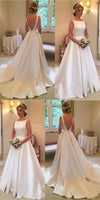 Simple Long V-Back Bridal Gowns Custom Made Fashion Long Satin Wedding Dresses WD020