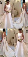 Simple Long V-Back Bridal Gowns Custom Made Fashion Long Satin Wedding Dresses WD021