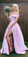 Sexy High Side Slit Off Shoulder Prom Dress Custom Made Long Satin Pink Evening Gowns Fashion Formal Dresses PD392