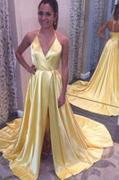 Sexy Long High Side Slit Prom Dress Custom Made Long V-Neck Evening Dress Fashion Long School Dance Dress PD829
