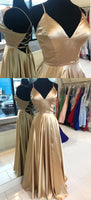 Simple Long Spaghetti Straps Prom Dress Custom Made Long Side Slit Evening Gowns Fashion Long School Dance Dress Fashion Formal Dresses PD844