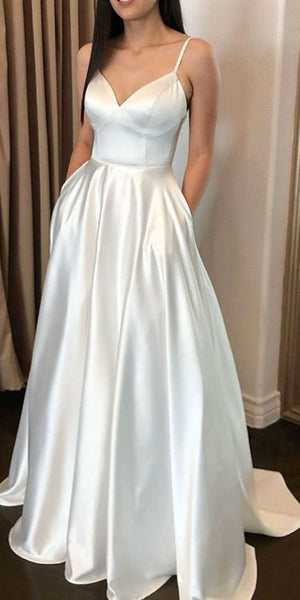 Simple Long Spaghetti Straps Prom Dress with Pockets Custom Made Long Evening Dress Fashion Long School Dance Dress Women's Formal Dresses PD862