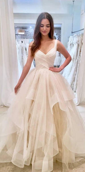 Simple Long Tulle Bridal Gowns with Straps Custom Made Fashion Long Wedding Dresses WD016