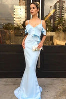 Elegant Mermaid Long Prom Dress with Straps Custom Made Fashion Satin Blue Evening Gowns PD301