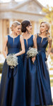 Simple Navy Satin Bridesmaid Dress with Pockets Custom Made Fashion Long A-Line Wedding Party Dresses BD042