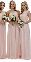 Simple One Shoulder Chiffon Long Bridesmaid Dress 2019 Custom Made Pearl Pink Wedding Party Dresses BD063