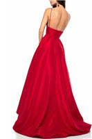 Simple Sexy Red Spaghetti Straps A-Line Prom Dress Custom Made Long Backless Evening Party Gowns PD325