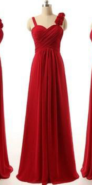 Simple Sweetheart Chiffon Bridesmaid Dress Red Long Prom Dresses BD009