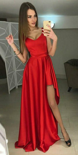 Simple Red Satin High Low Prom Dress Custom Made Sexy Evening Gowns Fashion Long School Dance Dress Women's Formal Dress PD593
