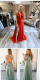 Simple Sexy Deep V-Neck Long Prom Dress with Side Slit Custom Made Long Red Evening Dress Fashion Long Satin School Dance Dresses PD685
