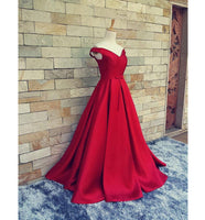 Simple Long Off Shoulder Prom Dress with Lace Up Back Custom Made Long Evening Gowns Fashion Long School Dance Dresses PD756