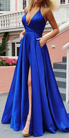 Simple Long Royal Blue Prom Dress Custom Made Long Side Slit Evening Party Dress Fashion Long Sexy School Dance Dress PD795