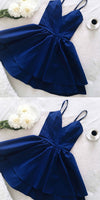 Royal Blue Spaghetti Straps Short Prom Dress Custom Made Short V-Neck Homecoming Dress Fashion Short School Dance Dress PDS039