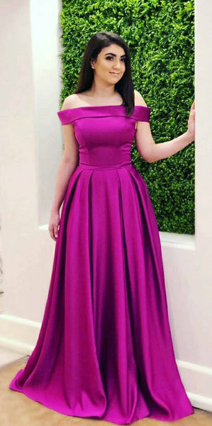 Simple Off Shoulder Satin Long Prom Dress Custom Made Satin Long Plus Size Evening Dress Fashion Long Satin School Dance Dresses PD683