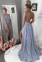 Simple Long Side Slit Prom Dress Custom Made Long Backless Evening Gowns Fashion Long School Dance Dress PD786
