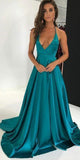 Simple Sexy Deep V-Neck Prom Dress 2019 Custom Made Long Backless Evening Dress Fashion Long Satin School Dance Dress Pageant Dress for Girls PD670
