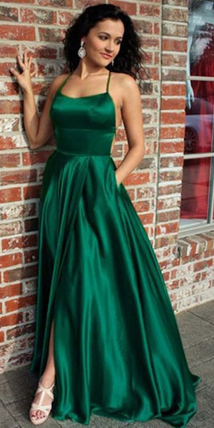 Simple Sexy Spaghetti Straps Backless Prom Dress with Side Slit Custom Made Long Satin Evening Dress Fashion Long School Dance Dress Pageant Dress for Girls PD666