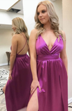 Simple Sexy Deep V-Neck Long Prom Dress with Spaghetti Straps Custom Made Long Backless Evening Gowns Fashion Long Side Slit School Dance Dress Women's Pagent Dresses PD946