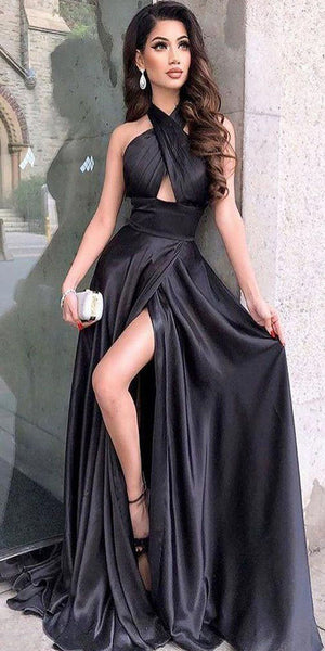 Simple Sexy Satin Side Slit Prom Gowns 2019 Custom Made Black Evening Party Dress Fashion Long Formal Dress Women's Pageant Dress PD604