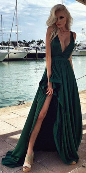 Sexy Simple V-Neck High Low Prom Dress 2019 Custom Made Dark Green Evening Party Dress Fashion Long Side Slit School Dance Dress PD550