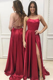Simple Sexy Spaghetti Straps Long Prom Dress Custom Made Long Backless Evening Gowns Fashion Long Side Slit School Dance Dress Women's Pagent Dresses PD945