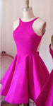 Sexy Backless Satin Homecoming Dress Simple Short A-Line Party Dress HD025