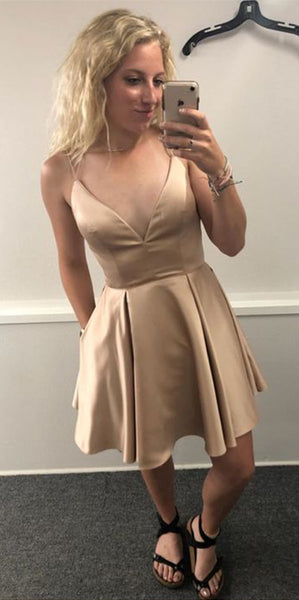 Simple Short Prom Dress with Spaghetti Straps Custom Made Short Homecoming Dress Fashion Short School Dance Dress PDS066