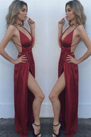 Sexy Simple V-Neck High Side Slit Prom Dress Custom Made Fashion Long Burgundy Formal Evening Gowns PD311