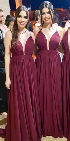 Simple Spaghetti Straps Long Bridesmaid Dress Custom Made Fashion Long Wedding Party Dresses BD110