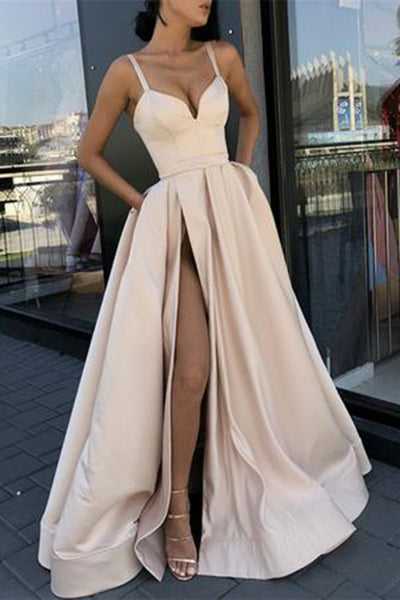 Sexy Sweetheart High Side Slit Pearl Pink Prom Dress Custom Made Satin Evening Gowns Fashion Long Party Dresses PD395