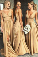 Simple Sexy Deep V-Neck Long Side Slit Prom Dress Custom Made Long Evening Party Dresses Fashion Long School Dance Dresses PD721