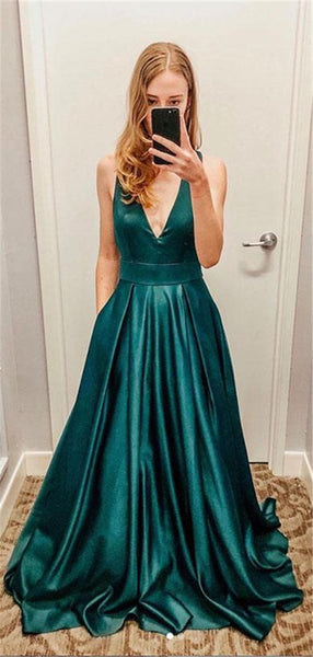 Simple V-Neck Prom Dress 2019 Custom Made Satin Evening Party Dress Fashion Long School Dance Dress Women's Formal Dress PD587