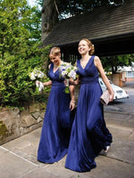 Simple V-Neck Long Navy Bridesmaid Dress Custom Made Fashion Long Wedding Party Dresses BD111