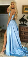 Simple V-Neck Long Prom Dress 2019 Custom Made Satin Side Slit Evening Party Dress Fashion Long Blue School Dance Dress Pageant Dress for Girls PD649