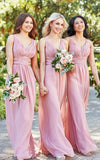 Simple Long Chiffon Bridesmaid Dress with Straps Custom Made Fashion Long Wedding Party Dresses BD117