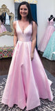 Simple V-Neck Long Pink Prom Dress Custom Made Long Evening Gowns Fashion Long School Dance Dress Women's Pagent Dresses PD900