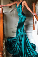 Simple Sexy Spaghetti Straps Prom Dress 2019 Custom Made Long Backless Evening Party Dress Fashion Satin Mermaid School Dance Dress PD520