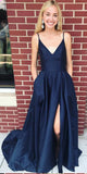Simple V-Neck  Side Slit Prom Dress with Spaghetti Straps Custom Made Long Evening Party Dress Fashion Long Satin School Dance Dress Pageant Dress for Girls PD662