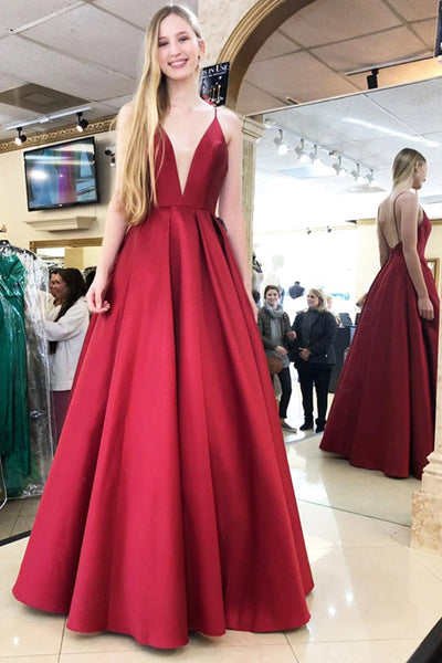 Simple V-Neck Spaghetti Strap Backless Prom Dress Custom Made Long Satin Evening Gowns Fashion A-Line Graduation Party Dresses PD434