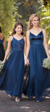 Elegant Satin V-Neck Navy Bridesmaid Dress Custom Made Fashion Long A-Line Wedding Party Dresses BD040
